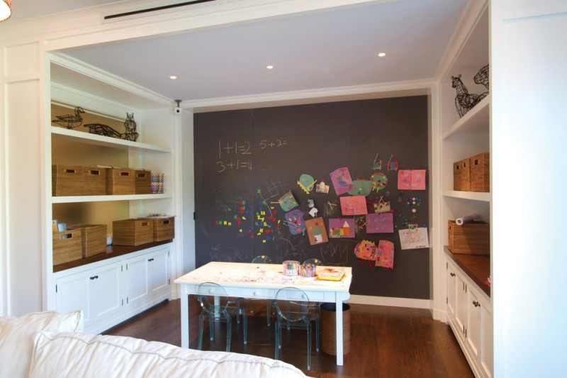 kids art table kartell lou lou ghost chairs rattan square basket built in shelf blackboard wall painting wall of arts white table trash bin wooden flooring