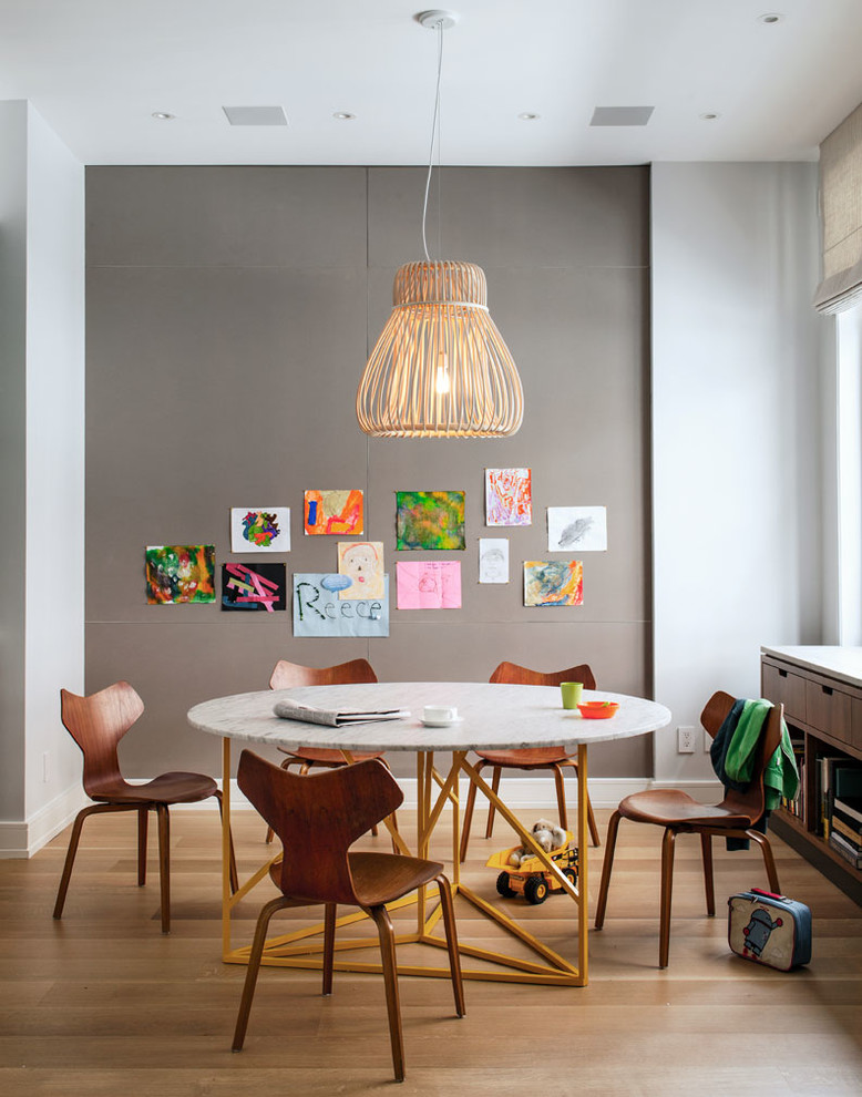 kids art table vine table dark walnut chairs arne jacobsen grand prix chairs wooden floor storage window with shade chandelier