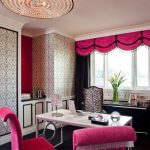 Office Wallpaper Black Trim Cabinets Ceiling Light Hot Pink Acents Pink And Black Curtains Marble Table Zebra Patterned Office Chair Windows Pink Chairs