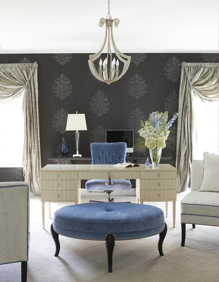 office wallpaper currey and company venus chandelier ladys desk lana ottoman by robbert allen white chairs blue tufted office chair carcoal wallpaper glamour table lamp