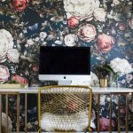 Office Wallpaper Ellie Cashman Wallpaper Floral Print Wallpaper Freestanding Desk Gold Accents Gold Desk Chair Gold Desk Frame Home Office Furniture