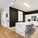 Black Accent Wall Black Kitchen Wall Colorful Tile Industrial Barstols White Kitchen Cabinet Waterfall Island White Marble Kitchen Island