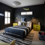Black And White Bedding Black And Beige Rug Custom Neon Light Pendants Felt Basket Fish Art Gray Walls Yellow Armchairs And Side Cabinets