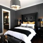 Black Bedroom Bedside Table Black Table Lamps Black Walls Charcoal Walls Crown Molding Dark Wood Floors Black Chandelier Black Headboard