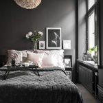 Black Bedroom Black Framed Glass Windows Chandelier Black Built In Storage Black Blanket Small Black Breakfast Table Artwork