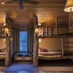 Bunkbed Log Pine Tree Pine Cabin Wood Ceiling Lamps Ceiling Fan Carpeted Floor Wood Floor Curtain