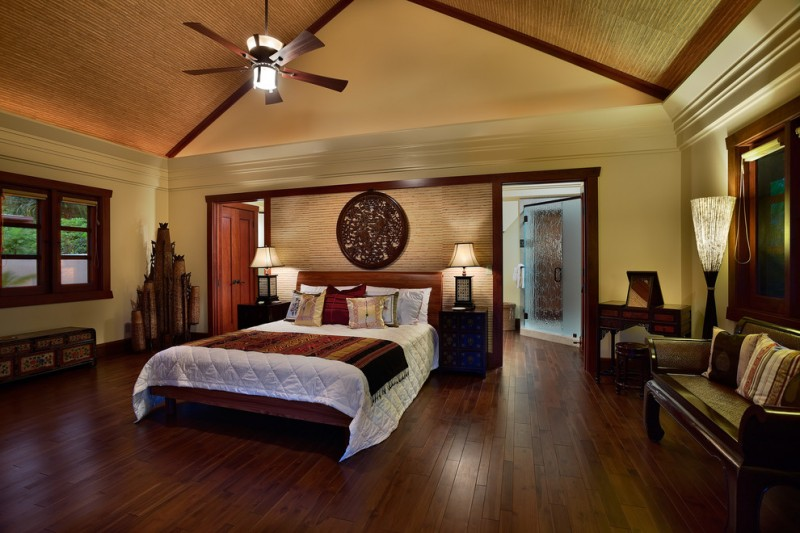 ceiling styles bedroom bench ceiling fan cove lighting crown molding dark wood trim sloped ceiling bed nighstands