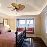 Ceiling Styles Beige Wall Black Bed Ceiling Fan Pink Duvet Sloped Ceiling Vaulted Ceiling White Wood Window Seat Window Shutters