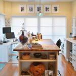 Craft Desk With Storage Black And White Photography Butcher Block Island Computer Desk Cream Walls White Cabinet