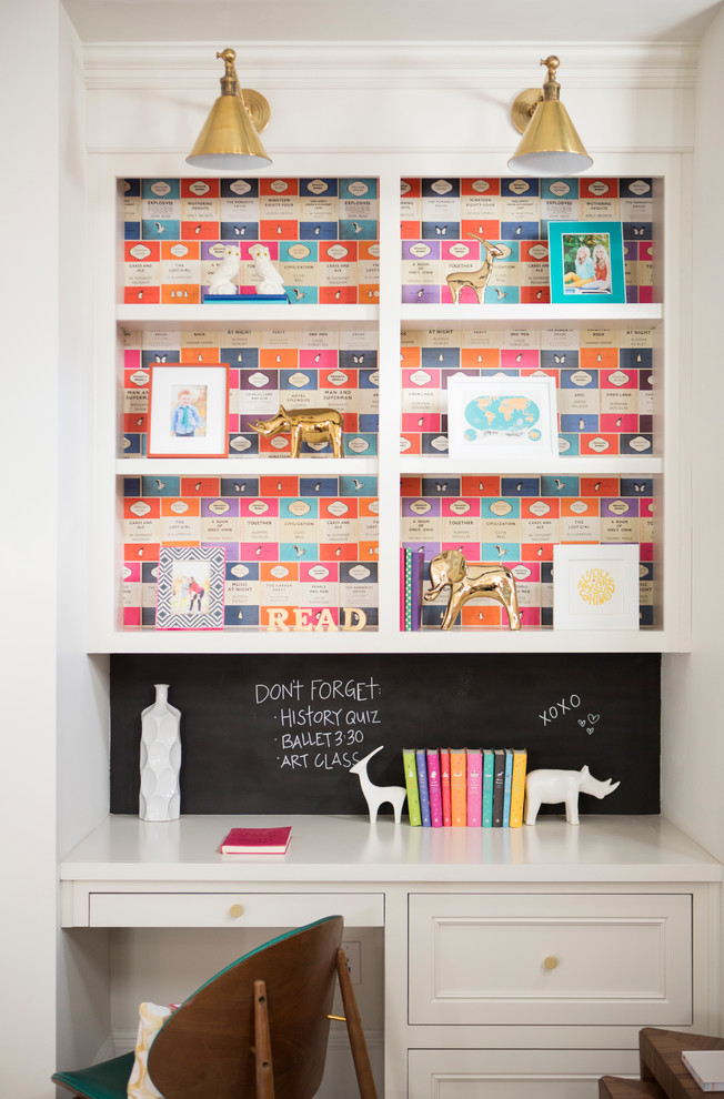 craft desk with storage chalkboard wall desk alcove drawers in desk framed art wall sconces wallpaper bookshelf wooden desk chair