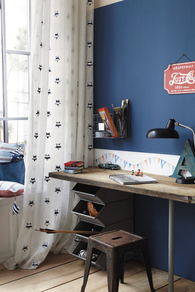 craft desk with storage stackable storage rustic square chair wooden flooring blue wall white curtain window wood desk table lamp