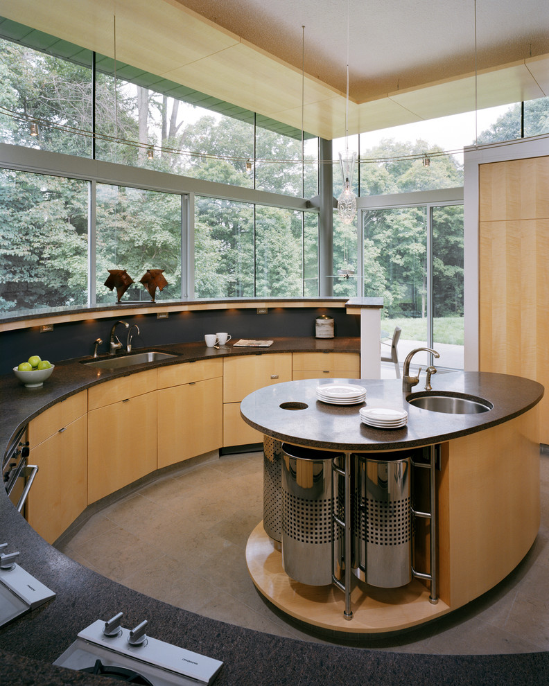 curved kitchen island round undermount sink faucet wood and stainless island black countertop curved cabinet glass windows