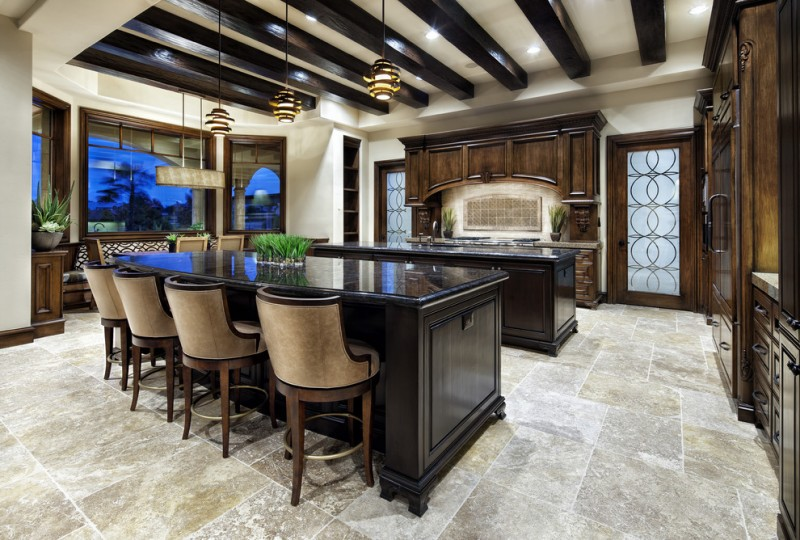 double island kitchen dark stain wood cabinet black kitchen island formal brown barstools chandeliers wooden kitchen cabinet stone floor