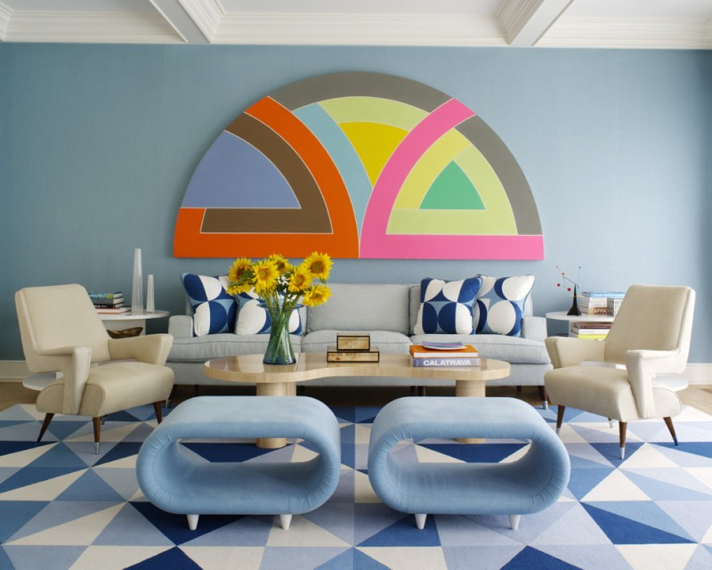 geometric wall art blue and white rug vintage blue small benches white armchairs unique table pillows grey couch white side tables