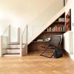 Glass Stair Railing German Oak Floor Herringbone Floor Leather Chair Bag Book Built In Shelves Under The Stairs Wall Decor