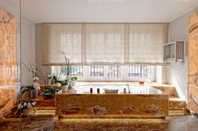 gold bathroom blinds built in bath orchids sheer blinds toe kick lighting window above bath recessed lightings glass doors towel rack tub
