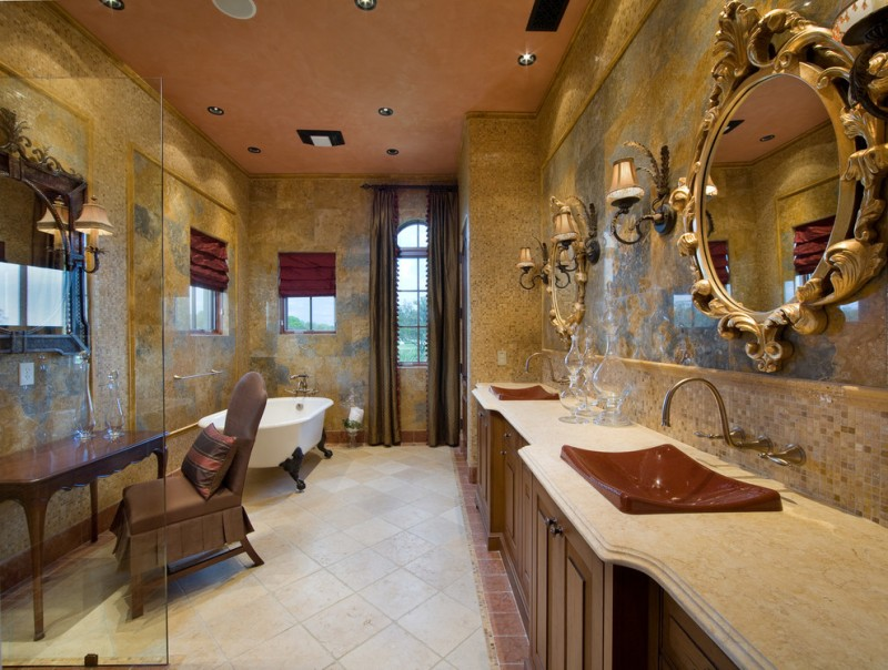 gold bathroom brown cabinets dark olive curtains double vanity drop in sink curtains free standing tub gold frame
