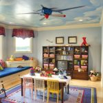 Kids Ceiling Fans Airplane Ceiling Fan Clouds On Ceiling Kids Chairs Kids Table Window Seat Windows Cabinet Colourful Rug Blackboard
