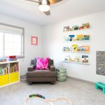 Kids Ceiling Fans Wall Mounted Shelf Window With Bind Area Rug White Cubbies Yellow Baskets Armchair Side Table