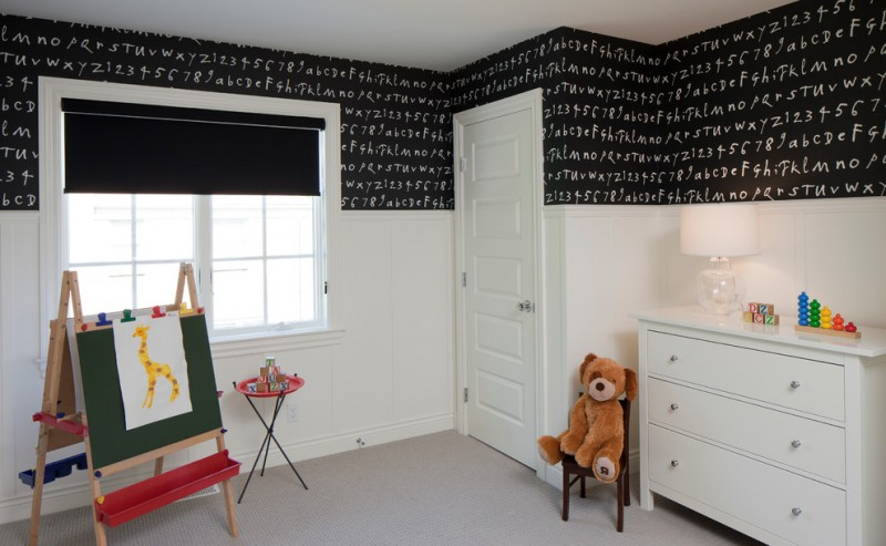 kids easel alphabet black and white wall chalkboard five paneled door glass knob glass lamp roman shade teddy bear white dresser window black window blind