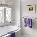 Lavender Bathroom Purple Towels White Window Patterned Shade Towel Holder Artwork Tub White And Lavender Floor Tile