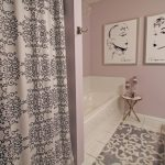 Lavender Bathroom Sketches Bath Mat Patterned Shower Curtain Vanity Lavender Wall Hook White Tub And Tile