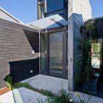 Modern Awning Concrete Pavers Custom Front Door Flat Roof Front Entrance Glass Overhang Modern Front Door Glass Windows