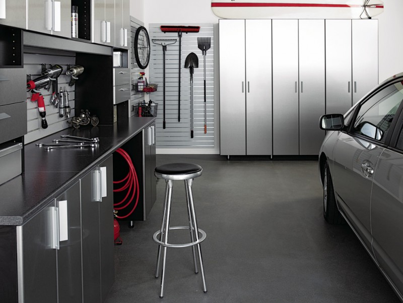 modern garage grey gloss cabinet magnetic storage drawers grey floor car wall mounted shelves barstool tool storage
