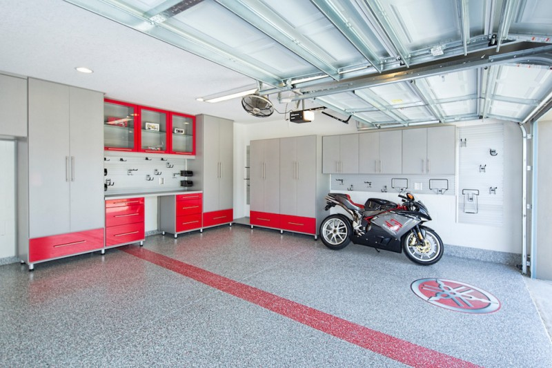 modern garage mid sized modern two car garage red and grey color scheme motorcycle grey storage fan red drawers glass storage doors