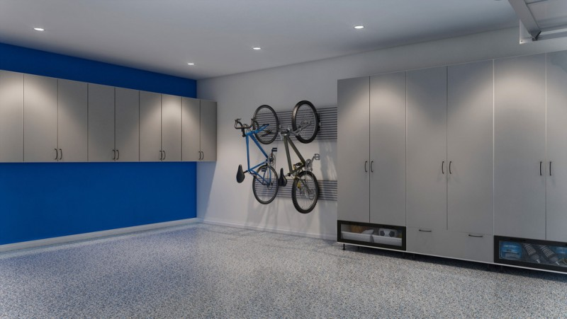 modern garage tall grey cabinet recessed lighting flooring bikes rack glass and metal storage blue and white wall small grey cabinet