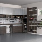 Modern Garage White Wall Brown And Silver Cabinet Drawers Barstool Bike Rack Window Magnetic Storage Grey Floor