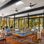 Moroccan Coffee Table Custom Windows Fleetwood Sliding Doors Modern Ceiling Fans Persian Rug Grey Couches Armchairs