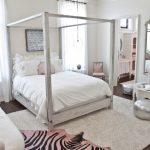 Moroccan Coffee Table White Bedroom White Bedding Silver Ottoman Big Mirror Pendants White Table Area Rug Curtains Sofa