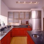 Red Cabinets Bamboo Floors Bar Pulls Black Countertop Cool Design Frosted Cabinetry Glass And Stainless Steel Cabinets Island With Sink Recessed Lighting