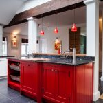 Red Cabinets Beams Granite Countertops Handpainted Kitchen Range Cooker Red Pendants Timber Wine Cellar Sink Wall Sconce