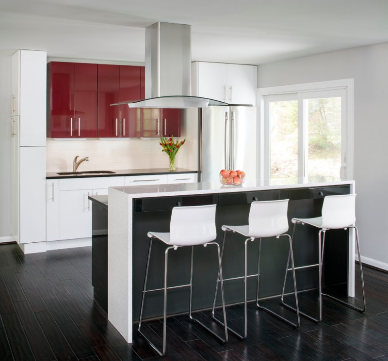 red cabinets black countertop contemporary kitchen cabinets gloss counter top high gloss red cabinets gleen bar stools white framed glass doors