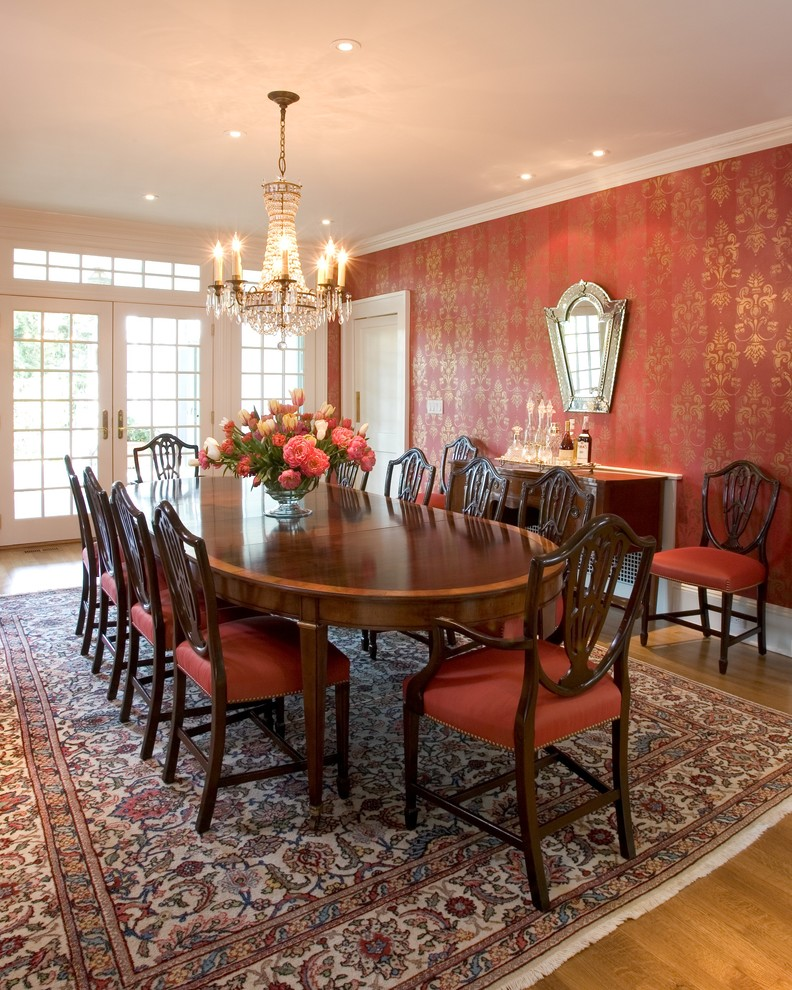 Red Dining Room Chandelier Patterned Wide Rug Table And Chairs With Cushions White French