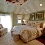 Sloped Ceiling Green And White Stripe Unique Ceiling Fan White Bedding Artwork Small Window With Shade Couch Fluffy Area Rug