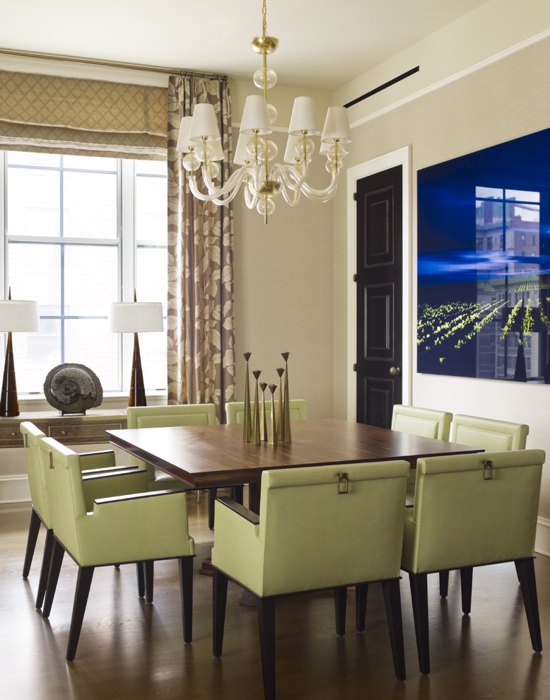 Square Pedestal Table White Chandelier Green Dining Chairs Artwork Gold Accent Lamp Window Curtains Valance