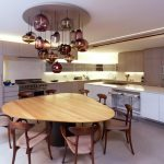Triangle Dining Table Unique Chandelier Wood Table Walnut Chairs Grey Floor White Kitchen Cabinet Barstools Recessed Lighting