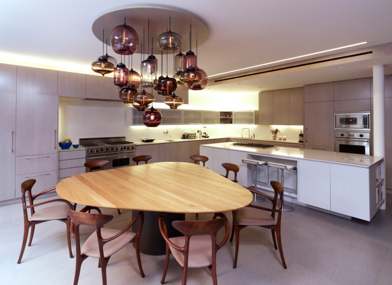 Triangle Dining Table Unique Chandelier Wood Table Walnut Chairs Grey Floor  White Kitchen Cabinet Barstools Recessed