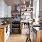 Wooden Wall Shelves Kitchen Cooker Hood Hanging Utensils Stainless Steel Worktops Storage Timber Floors Utensil Rail Window Bench