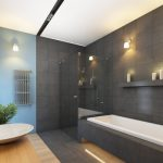 Bamboo Bathroom Large Black Wall Tile Wall Sconces Built On Tub Blue Accent Wall Sink Bowl Glass Shower Doors Indoor Plant
