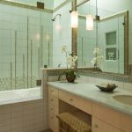 Bamboo Bathroom Tosca Walls Built In Tub Shower Faucet Glass Door Bamboo Floor Mirror Bamboo Chair Vanity Undermount Sink