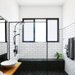 Black Subway Tile White Tiled Wall Vessel Sink Wood Countertop Floating Cabinet Glass Siding Shower Tower Holder Mirror