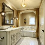 Curtain Tassels Marble Floor Chandelier Marble Tub Black Faucet Wall Sconces Vanity Black Framed Mirrror Undermount Sink