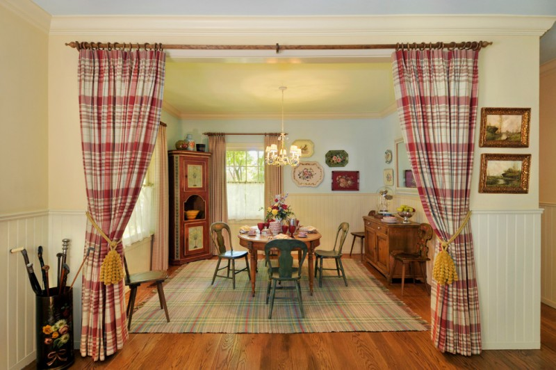 curtain tassels tartan curtains yellow tassel traditional dining table and chairs area rug wood flooring chandelier vintage decoration
