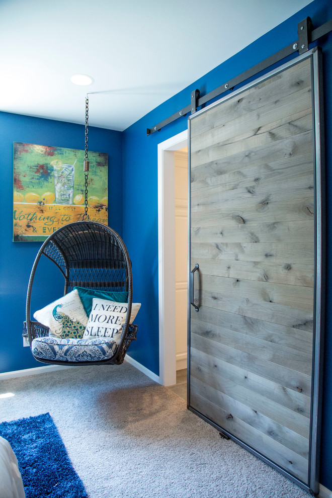hanging papasan chairs blue walls sliding barn door blue chair cushion pillows artwork blue shag rug recessed lighting