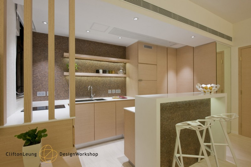 modern chic kitchen wood tone kitchen mosaic backsplash raised island barstools recessed lighting undermount sink flat panel cabinet