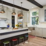 Nautical Kitchen Colorful Barstools Ceiling Beams Kicthen Cabinets Kitchen Island Industrial Pendant Lights Windows Small Rug